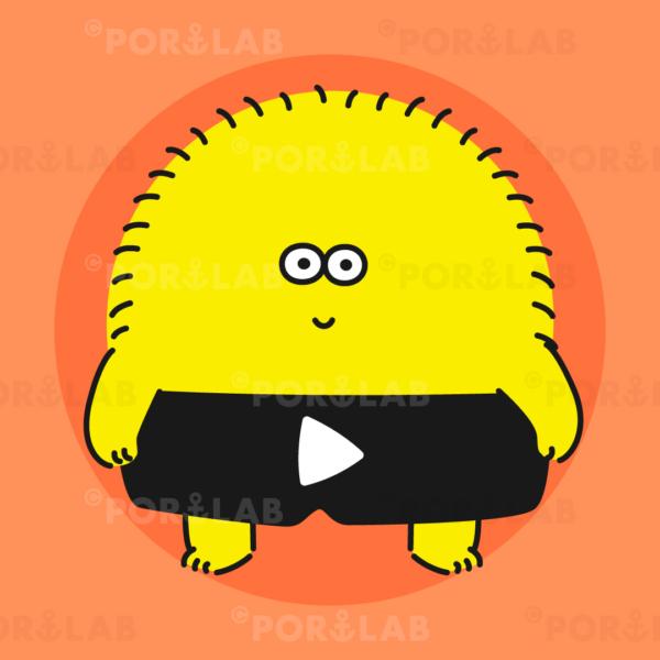 黄色のかわいいもふもふキャラクター