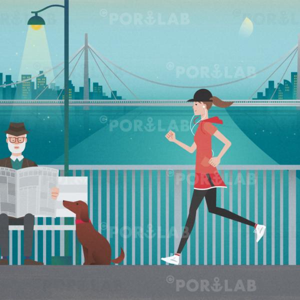 ジョギングをする女性と新聞を読む男性