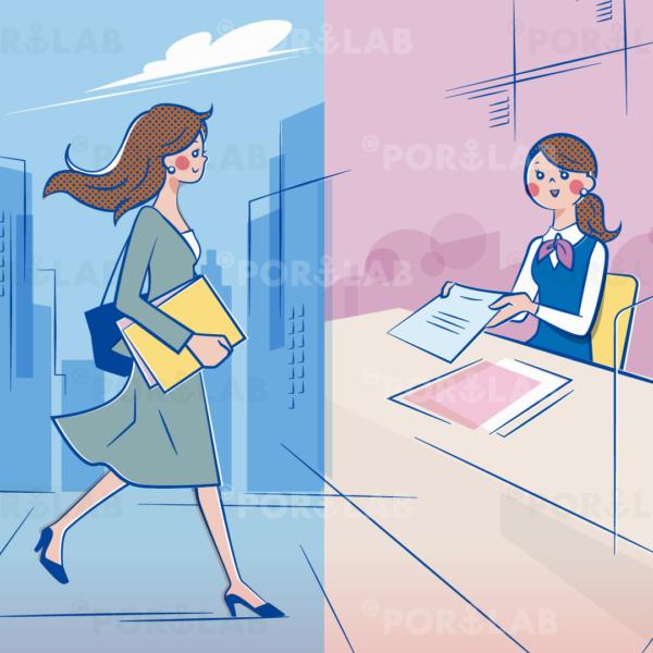 颯爽と都会を歩く女性、受付で説明する事務の女性