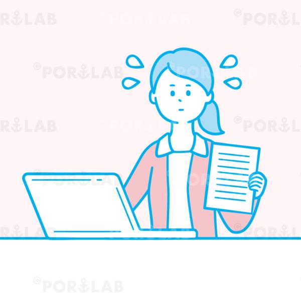 パソコンで入力作業をする女性